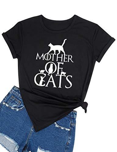 YUHX Mother of Cats Camiseta Divertida Mujer Gatos Estampado gráfico Manga Corta Cuello Redondo Tops