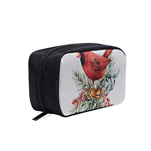 Damen-Kosmetiktasche, Aquarell-Weihnachtskarte Roter Kardinal-Kosmetiktasche für den Winter, Kulturbeutel oder Federmäppchen