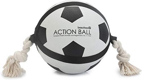 Beeztees Action Voetbal Met Touw - Hondenspeelgoed - 22 cm