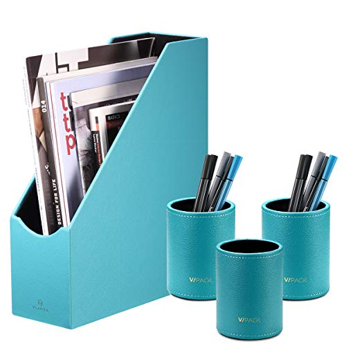 File Folder Storage with 3 Pen Cups, Office Supplies Package Integration Magazine Holder Pencil Case Box, Office Supplies Desk Organizer Accessories (Leather-Blue)