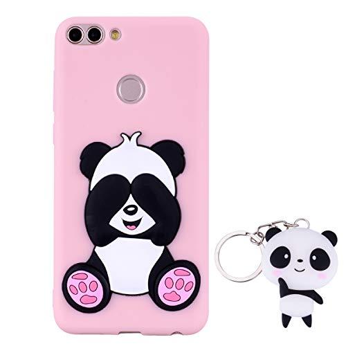 HopMore Panda Funda para Huawei P Smart Silicona con Diseño 3D Divertidas Carcasa TPU Ultrafina Case Antigolpes Caso Protección Cover Dibujos Animados Gracioso con Llavero - Rosado