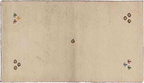 Teppich Brücke Gabbeh ca. 90 x 160 cm Beige handgeknüpft Schurwolle Klassisch hochwertiger Teppich