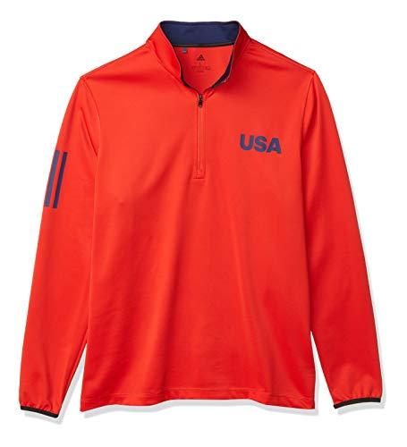 adidas Hombres USA Golf Ligero Capas Top Quarter Zip, Hombre, Cuarto de Cremallera, TM4365S20USA, Rojo/Azul Oscuro, L