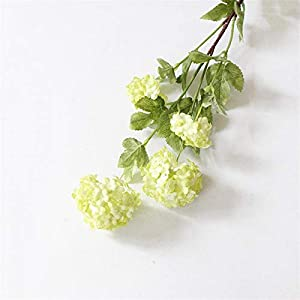 Artificial Flowers Decorative 4 Heads 85cm Snowball Hydrangea Artificial Silk Flowers,Wedding Christmas Living Room Decoration with Artificial Leaves Decorative