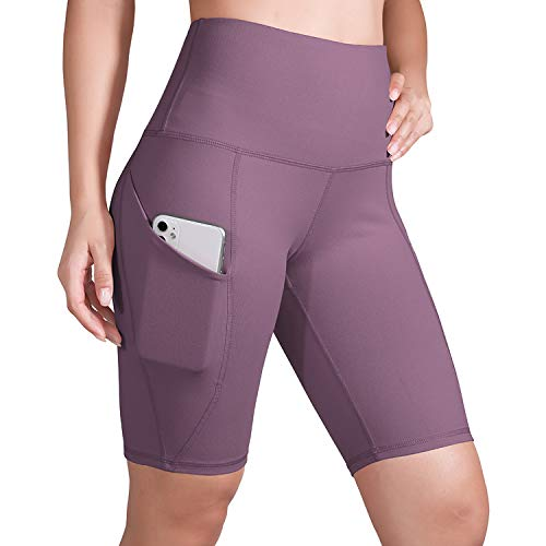 ODODOS High Waist Out Pocket Yoga Short Tummy Control Workout Running Athletic Non See-Through Yoga Shorts, Lavender, XXX-Large