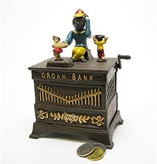 Design Toscano Monkey Organ Grinder Collectors' Die Cast Iron Mechanical Coin Bank