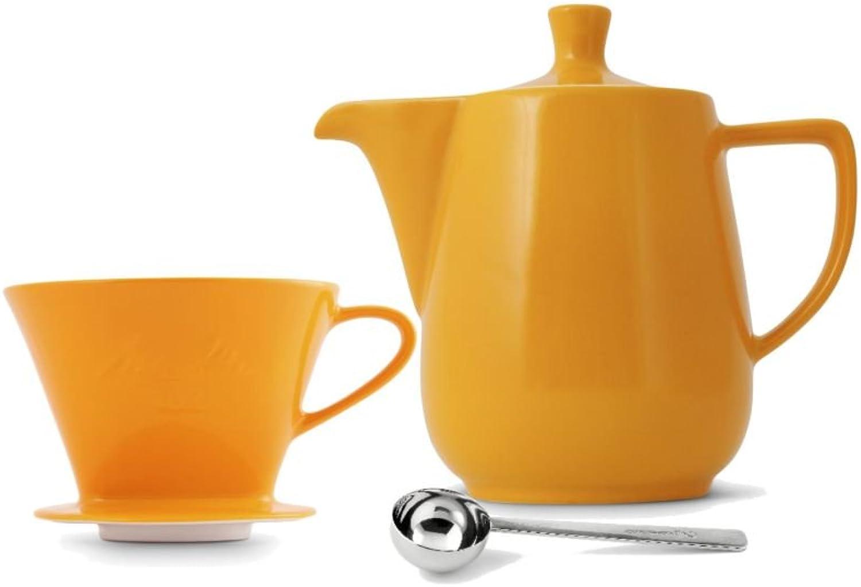Friesland Melitta Kaffeefilter 102 1 Loch Porzellan safrangelb + Kaffeekanne 0,6L + Kaffeemalffel