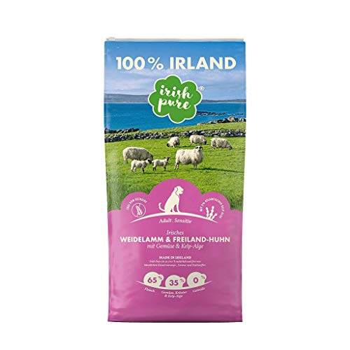 Irish Pure Adult Weidelamm & Freiland-Huhn mit Kelp-Alge - Premium Trockenfutter für Hunde, Hoher Fleischanteil, Getreidefrei, Sensitiv, Hundetrockenfutter, Hundefutter für alle Rassen (12kg)