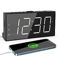 Digital Clock Large Display, Electric Loud Dual Alarm clock for Deep Sleeper Teens Elderly, Big Number Bedroom Clock with USB Port, Easy Bedside Desk clock with Dimmer,Battery Backup,Snooze,12/24H,DST