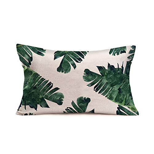 Fukeen Green Palm Leaves Decorative Throw Pillow Cover Summer Tropical BananaLeaf Lumbar Pillow Cases Home Chair Bedroom Decor Oblong 12x20 Inches Cotton Linen Waist Cushion Covers