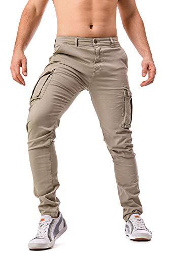 Instinct Pantaloni Cargo Uomo con Tasche Laterali Tasconi Zip Slim Fit W7 (48, Khaki_701)
