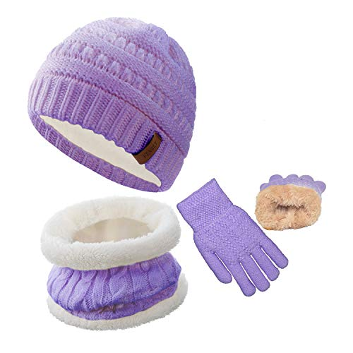 Kids Scarf and Hat Glove Set for 5-10 Years Old Boys and Girls Purple Winter Warm Fleece Lined Knit Beanie and Infinity Scarf
