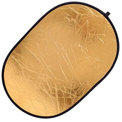 """35""""90cm 2-in-1Oval Reflektor Tragbarer Faltbarer Licht Reflektor Diffusor Lichtreflektor Fotografie-Silber/Gold für Fotografie Fotostudio Beleuchtung und Außenbeleuchtung"""