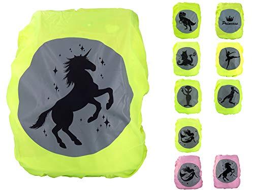 Premium Schulranzen/Rucksack Regenschutz/Regenüberzug, ohne Nähte, 100% wasserdicht, mit Sicherheits-Reflektionsbild Einhorn