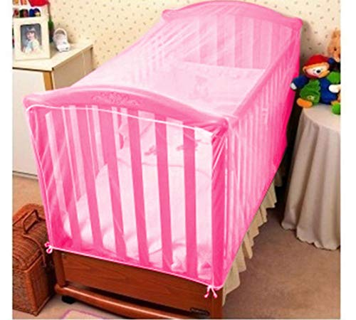 KIDDALE Adjustable Baby Crib Mosquito Net- Can Also be Used in Cot, Cradle with Breathable Fabric Mesh,Eco-Friendly, Mosquito Repellent(only Net)- Pink