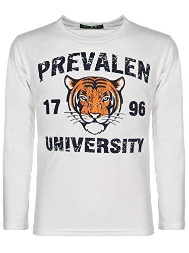 Kinder Jungen Pullover Langarm-Shirt Pulli Sweater Motiv Druck Tiger 30121 Weiß 134 bis 140