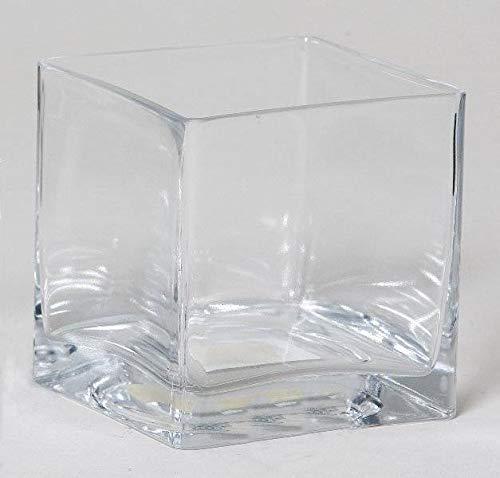 INNA-Glas Maceta KUNO, Cuadrada, Transparente, 20x20x20cm - Jarrón de Cristal - Florero Decorativo
