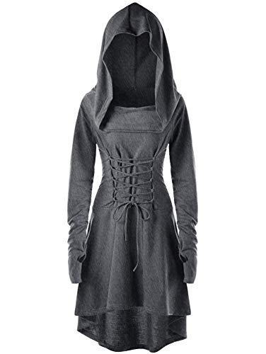 Soluo Womens Renaissance Costumes Hooded Robe Casual High Low Hem Layered Coat Cloak Vintage Pullover Dress - grey - 4X-Large