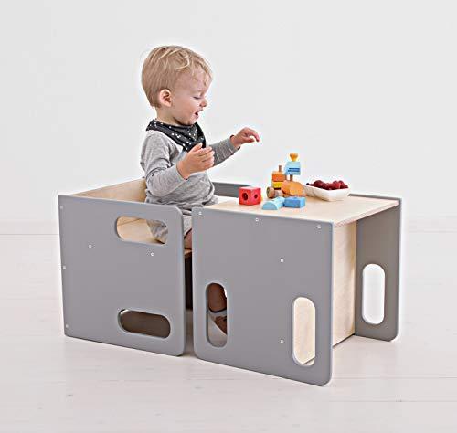 Montessori - Set di sedie a cubo e tavolo per bambini – Set tavolo e sedia da bambino in legno – sedia a cubo ha 2 altezze di seduta e può essere utilizzato anche come sgabello (grigio)
