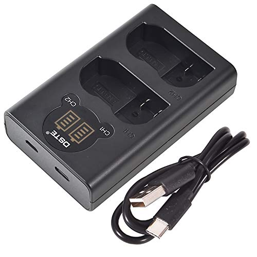 DSTE Caricatore doppio USB con display LCD per EN-EL15 e Nikon 1 V1,D7200,D7100,D750,D600,D7000,D810,D610,D800E,D810A,D800 Digital SLR Fotocamera,Nikon Battery Grip MB-D11,MB-D12,MB-D15,MB-D17