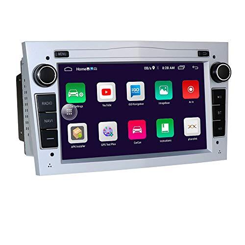 Android 10 Reproductor de para Radio de Coche con Bluetooth Navegación GPS Pantalla táctil de 7 Pulgadas Control del Volante WiFi Adecuado para Opel Antara Vectra Crosa Vivaro Zafira Meriva(Plata)