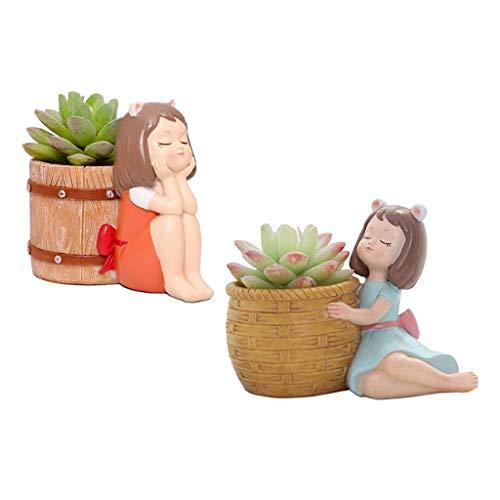 FLAMEER Set of 2 Girl Figurines Succulent Pot Cactus Bonsai Pots Garden Decorative
