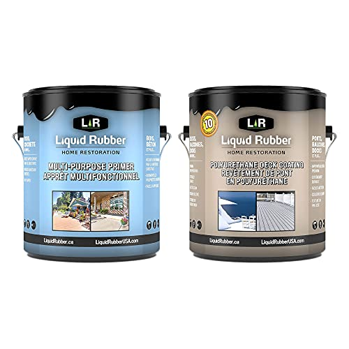 Liquid Rubber MultiPurpose Primer and Deck Coating Kit - Bundle Includes Liquid Rubber Multi-Purpose Primer 1G and Smooth Polyurethane Deck and Dock Coating 1G, Misty Gray