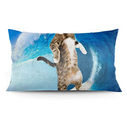 Tonicnc Surfcat Surfing Cat Crazy Cat Pillow Case 20'' X 36'' Custom Pillow Case Cushion Cover White 20'' X36