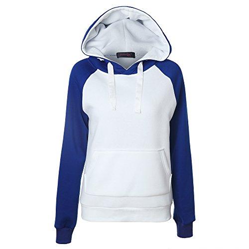x8jdieu3 Frauen Hoodie Langarm Pullover Colorblock Sweatshirt Kordelzug Pullover Ärmel Sport Jackentasche