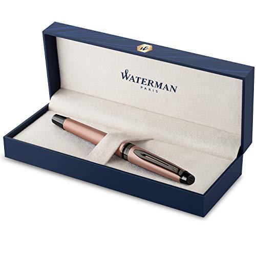 Penna roller Waterman Expert | Laccatura in oro rosa metallizzata con puntale in rutenio | Punta sottile | Inchiostro nero | Confezione regalo