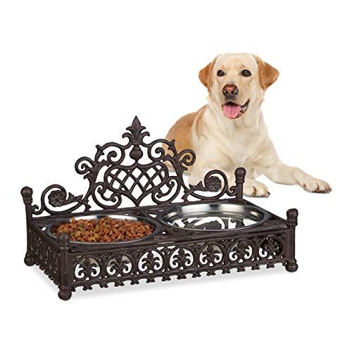 Relaxdays Supporto Ciotole per Cani Grandi Stile Antico Porta scodelle in ghisa Set da 1 litro Acciaio Inox Marrone