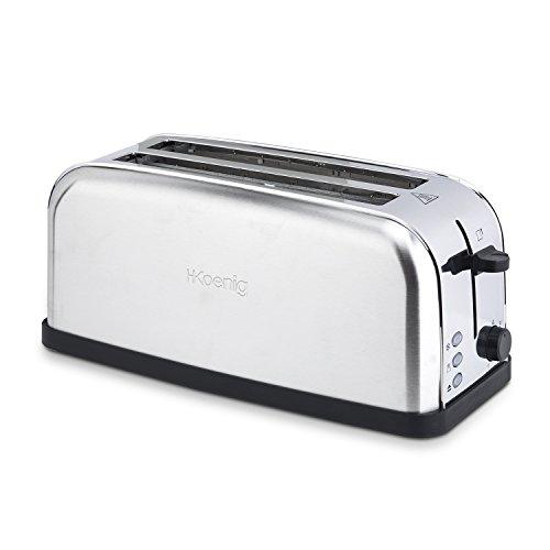 H.Koenig TOS28 Toaster / Langschlitztoaster mit extra breitem Schlitz / 7 Wärmestufen / 3 Funktionen / geeignet für Bauernbrot, 4 Toasts oder Baguette / Edelstahl / silber