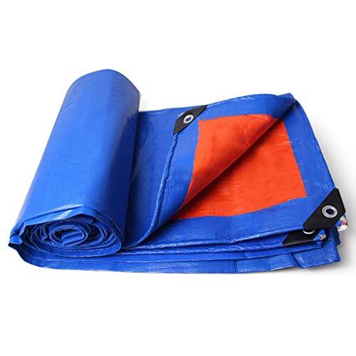 Yyqx Plane Abdeckung Doppelseitige Tarp Wasserdichtes PE Große Abdeckung for Outdoor-Trailer, Brennholz, Plane Überdachung-Zelt, Boot, Wohnmobil oder Pool-Abdeckung, Blau + orange Zeltplanen