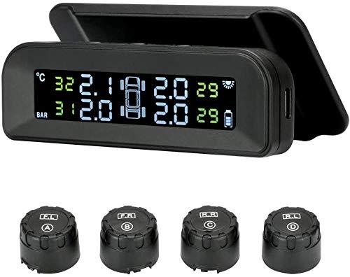 REXUS TPMS Solar-Reifendrucküberwachungssystem, 22-87 psi, Zubehör an der Windschutzscheibe, mit 4 externen Sensoren, Autoreifen, drahtlosem Echtzeit-Alarmsystem