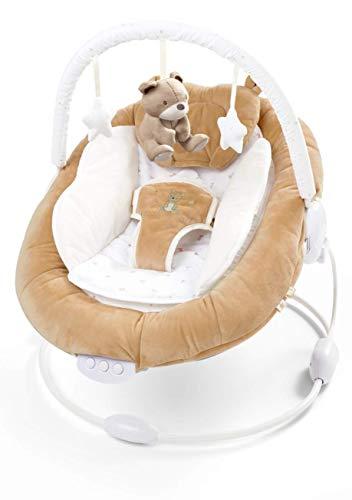 just 4 baby Teddybär-Wippe, weich gepolstert, mit beruhigender Musik, Vibration und Spielzeug, ab 0 Monaten, 78 cm, Braun