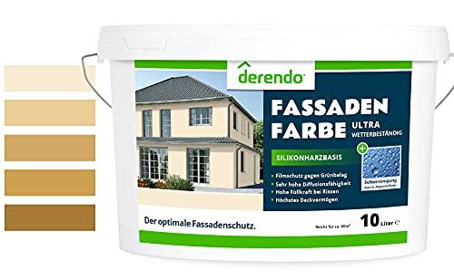 Derendo Silikonharz Fassadenfarbe beige mit ULTRA Wetterschutz, 2,5l, Abperleffekt wie beim Lotus Blatt, inkl. Filmschutz gegen Grünbelag, (Cremebeige 5-31)