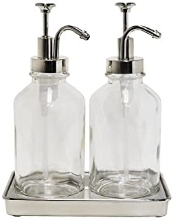 Double Soap Pump Oil Can Clear Glass w/ Stylish Tray - Threshold