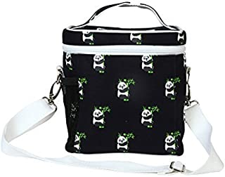 EcoRight Lunch Bag Reusable Cotton Canvas EcoFriendly Insulated Cooler Washable Zipper for Men, Women, Adults Printed Pandas (Blue) - (0803S01)
