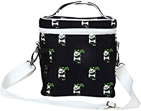 """EcoRight Lunch Bag Reusable Cotton Canvas EcoFriendly Insulated Cooler Washable Zipper for Men, Women, Adults Printed """"Pandas"""" (Blue) - (0803S01)"""