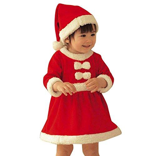 feiXIANG La Ropa de los niños bebé niña Ropa de Navidad Ropa Arco Vestido de Fiesta + Sombrero Cargado niñas Navidad Ropa de Manga Larga Vestido Sombrero de Dos Piezas