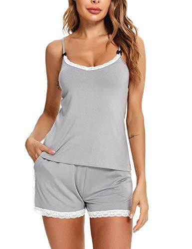 Aibrou Pijama Verano Mujer Algodon Pijama Corto De Tirantes Pijama Corto Sexy Ropa De Dormir Verano con Encaje Dos Piezas para Mujer
