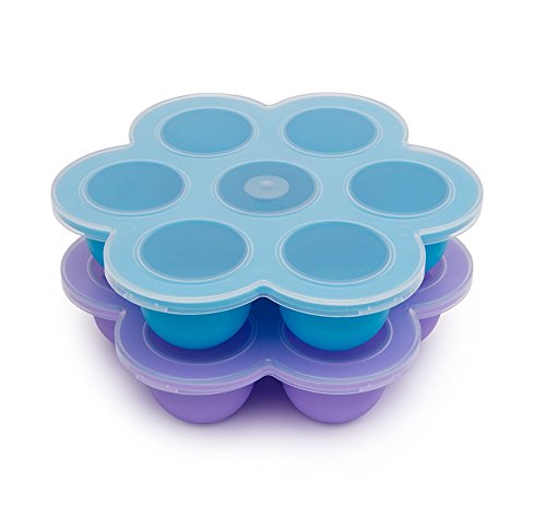 Silicone Egg Bites Molds for Instant Pot Accessories (7 Cups Egg Bites, PURPLE&BLUE)