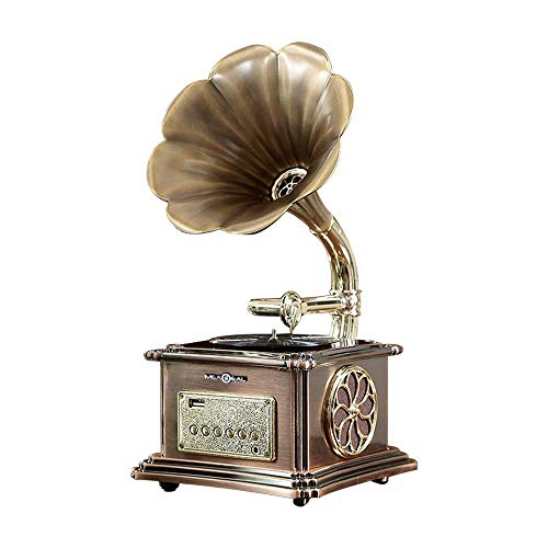 Retro Bluetooth Speaker 40W, Vintage Turntable Gramophone Shaped Speakers with Aux-In, USB Port for Flash Drive, Phonograph Style for Home Decoration