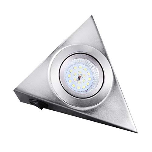 Uonlytech - Lámpara LED para armarios (13 x 13 cm, acero inoxidable cepillado, luz blanca cálida, para armario de cocina, armario, enfriador de vino y soporte de TV)