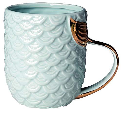 VANUODA Meerjungfrau Tasse, Keramik Kaffee Becher mit Meerjungfrau Schwanz Griff, Personalisierte Geschenk für Frauen Mama Oma Mädchen - Muttertag - Geburtstag - Weihnachten - Hochzeit (Blau)