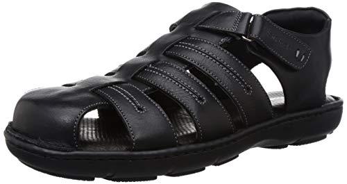 Hush Puppies Men's New Track Fisherman Black Leather Sandals-7 UK (40 EU) (8646970)