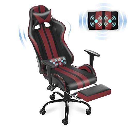 Massage Gaming Chair, Large Size Ergonomic Racing Style PC Computer Chair with Headrest Lumbar Support Footrest Adjustable Recliner PU Leather Video Computer Chair(Tango Red)