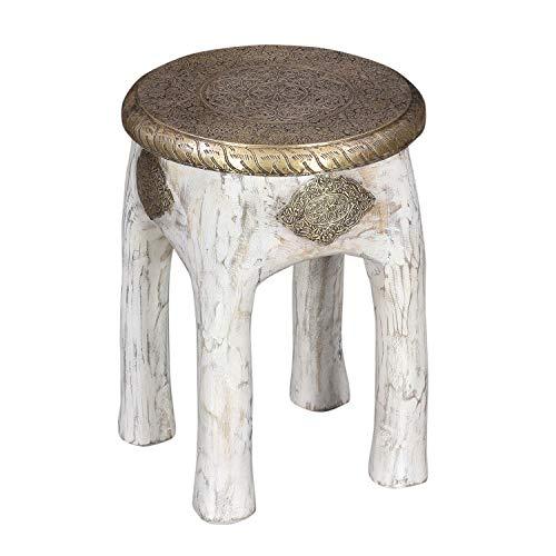 Casa Moro Orientalischer Sitzhocker Hiya Weiss Höhe 45 x Ø 34 cm rund aus Massivholz Mango mit Messingintarsien | Kunsthandwerk Pur | Vintage Holz-Hocker Handmade Beistelltisch Shabby Chic | MA13-25W