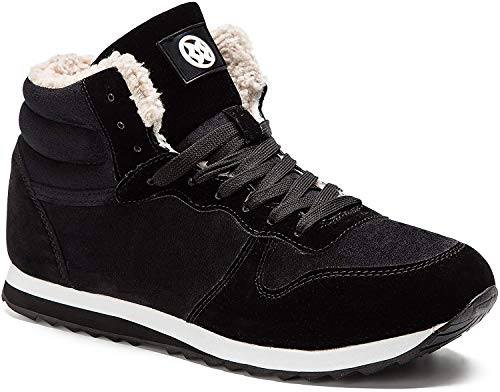 Gaatpot Zapatos Invierno Botas Forradas de Nieve Zapatillas Sneaker Botines Planas para Hombres Mujer Negro EU 40.5 = CN 42