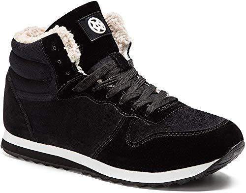 Gaatpot Herren Damen Winterschuhe Schneestiefel Winter Hohe Sneakers Warm gefütterte Leder Schnür Stiefel Boots Schuhe Schwarz 42.5EU=44CN